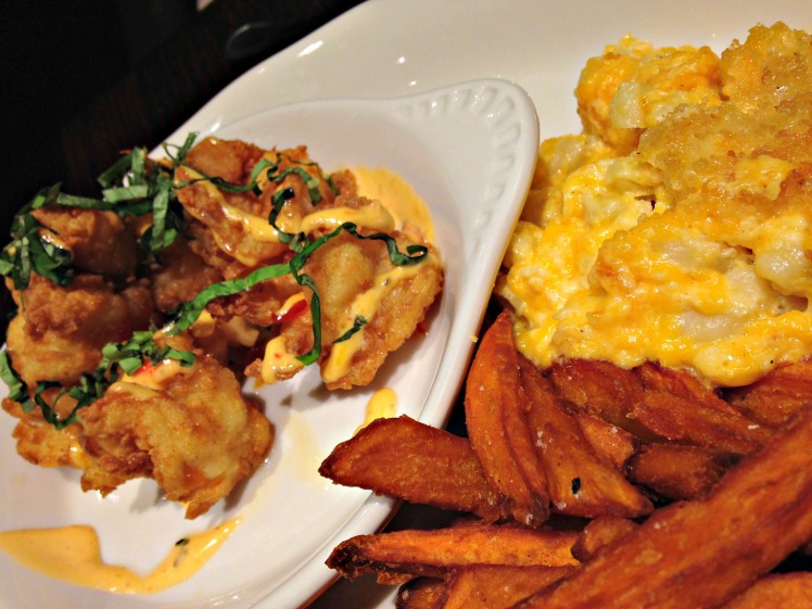 Jumbo Shrimp w/ Mac & Cheese and Sweet Potato Fries